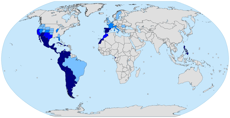 Spanish speaking countries on a map